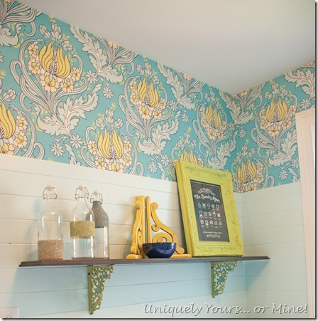 Custom shelving in laundry room