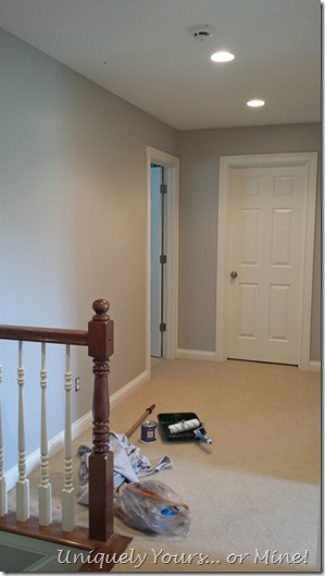 Hallway painted Revere Pewter