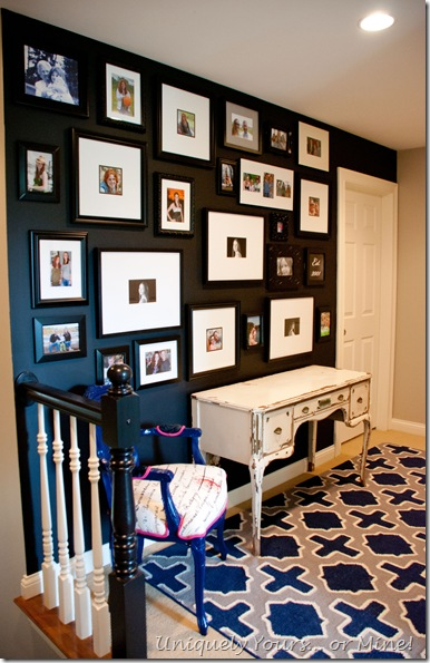 Gallery wall family photo wall black accent wall
