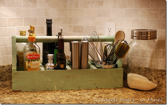 Useful decor in kitchen, vintage toolbox caddy