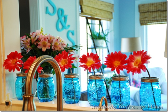 Blue ball jar kitchen decor