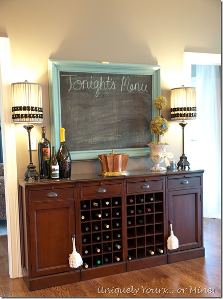Wine bar area in kitchen with chalkboard