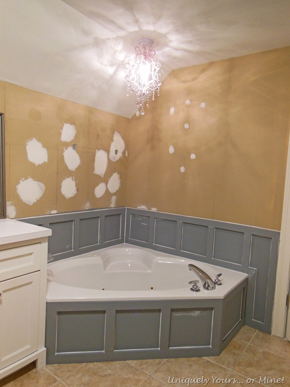 Installing Wainscoting Around Bathtub In Master Bathroom