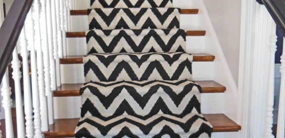 Chevron Print DIY Stair Runner