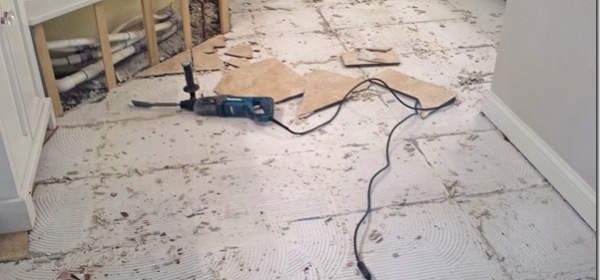 DIY bathroom tile concrete and lath removal