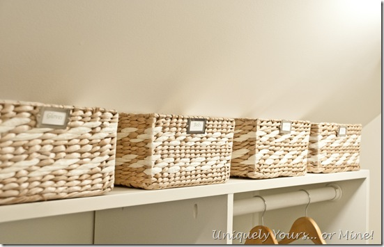 Baskets for additional closet storage