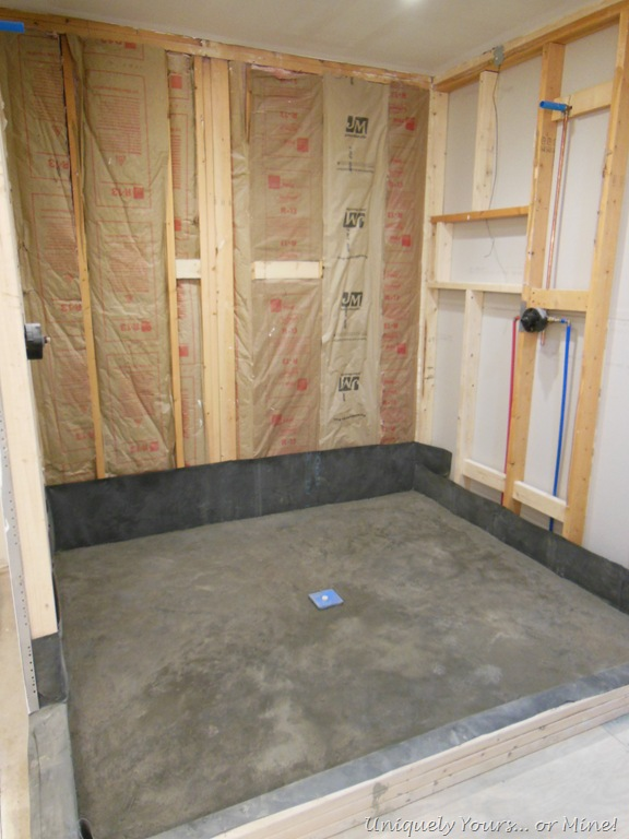 It is amazing what sheetrock can do bath closet part - Shower base liner ...