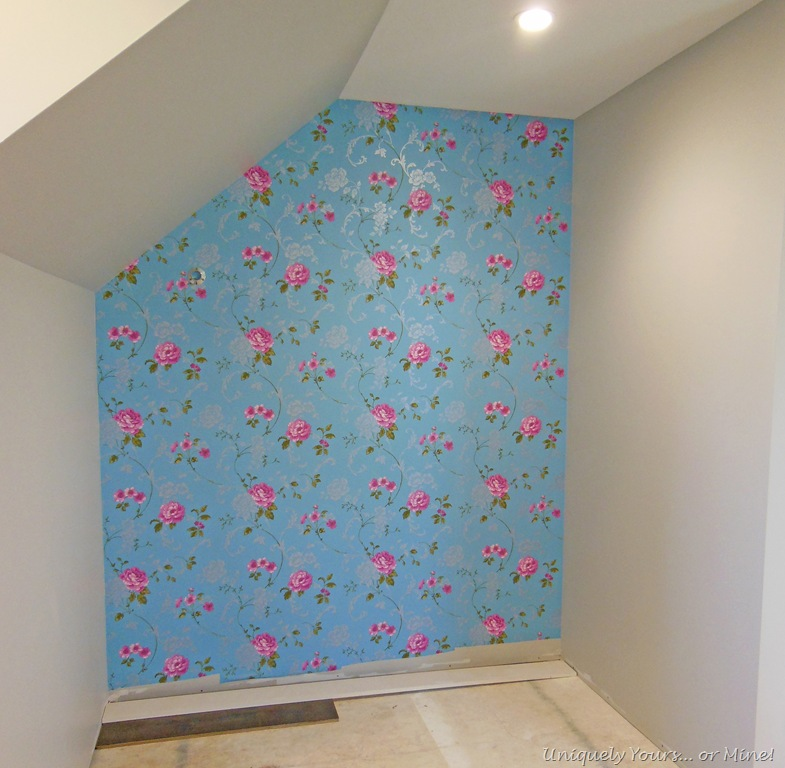 Master closet wallpaper focal wall