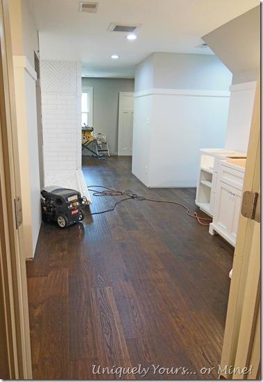 Engineered oak wood flooring in master bathroom