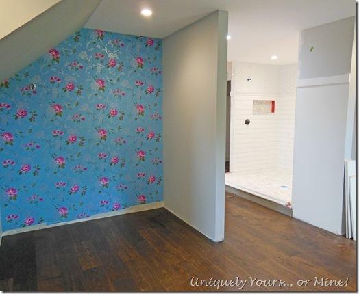 Engineered oak wood flooring in master closet