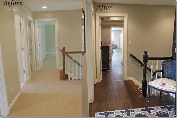 New hardwood flooring installed in hall, bathroom, master bedroom and closet