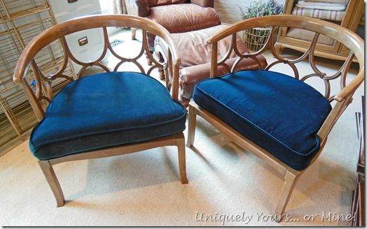 Baker mid-century Regency modern barrel back chairs