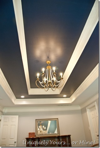 Navy Blue painted trey ceiling in the master bedroom