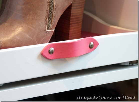 DIY hot pink leather drawer pulls