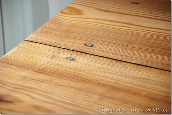 Refinished natural pine table top