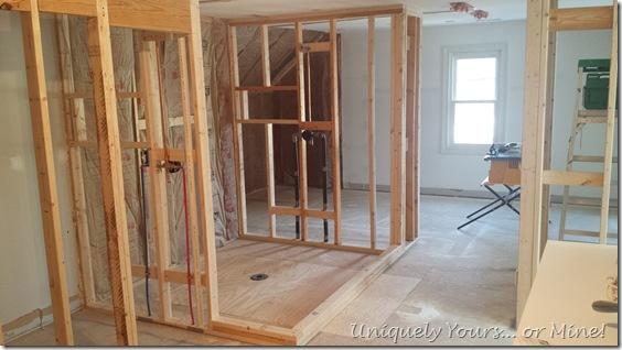 Bathroom shower renovation in progress