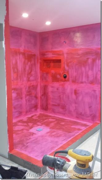 Bathroom shower installation in progress, RedGuard