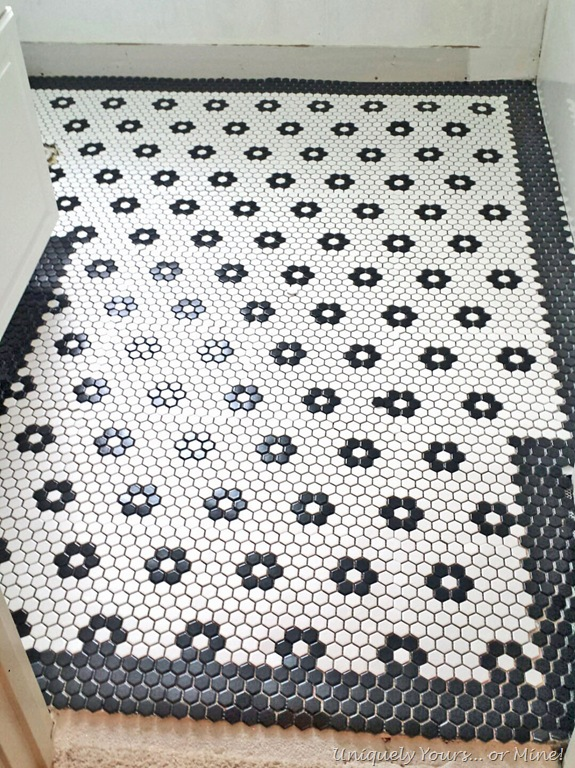 Dry layout of black and white mosaic tiles with flowers. black and white mosaic tile with flowers   Uniquely Yours    or Mine