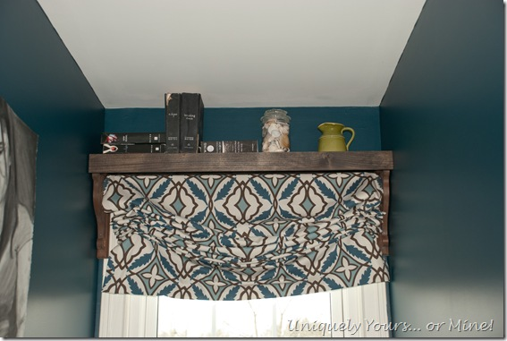 Blackout Roman shade with shelf above