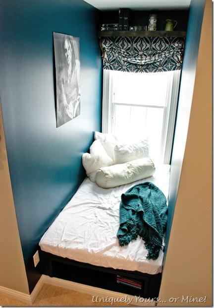 DIY built platform bed in dormer window area