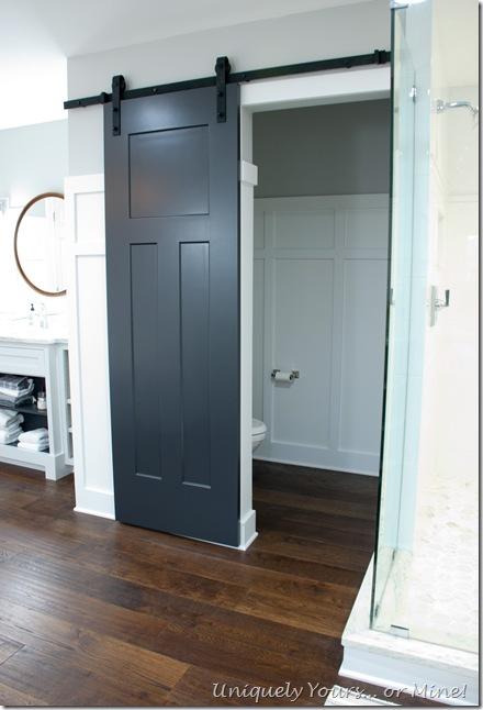 Barn door in master bathroom renovation