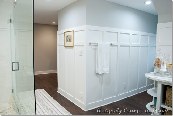 Board and batten walls in master bathroom renovation