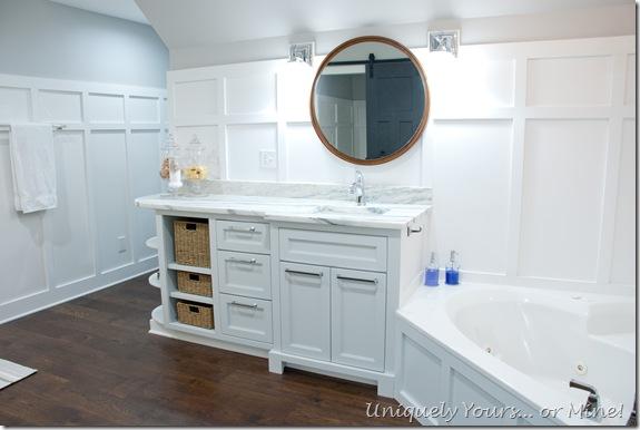 Grey vanity, white board and batten walls, master bathroom renovation