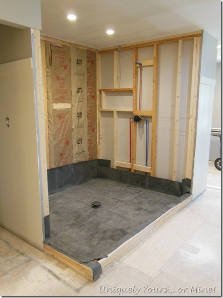 Bathroom shower floor installation in progress