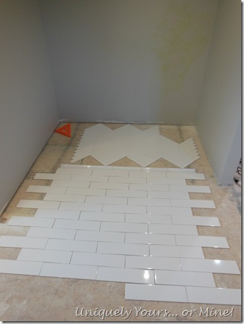 Shower tile dry fit layout