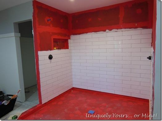 Tiling master bathroom shower walls