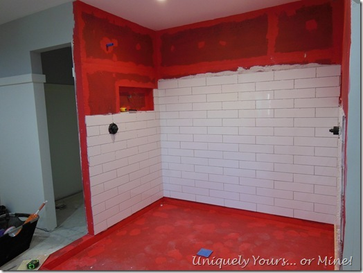 Tiling master bathroom shower walls