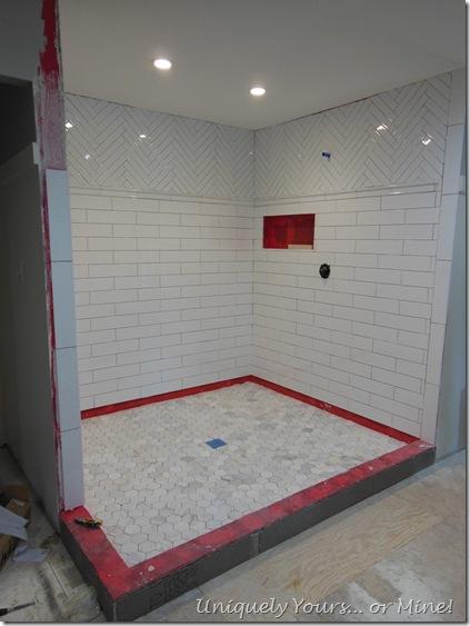 Tiling master bathroom shower, herringbone subway