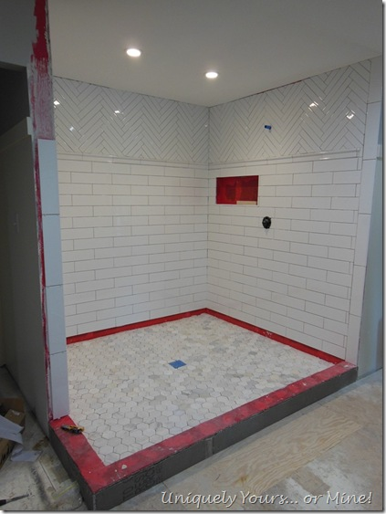 Tiling master bathroom shower, herringbone subway