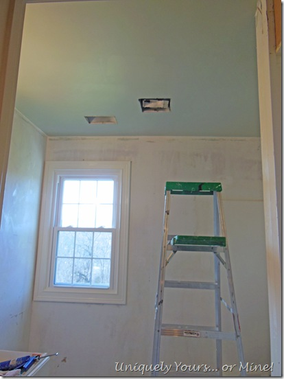 Palladian Blue painted bathroom ceiling