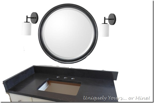 vanity mirror and sconce mock up