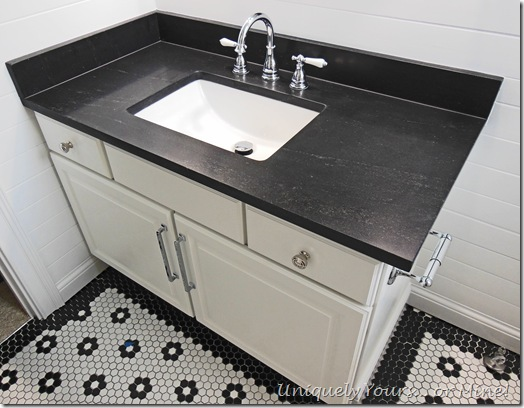 Black and white traditional bathroom renovation