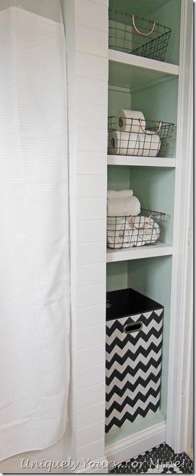 Linen nook in bathroom renovation