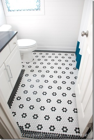 "DIY black and white 1"" hexagon mosaic floor with flowers"