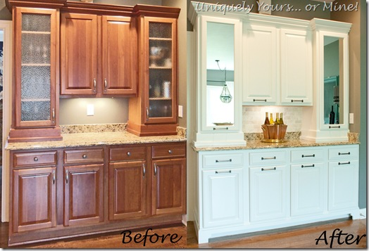 Before and After of updated butler's pantry cabinets