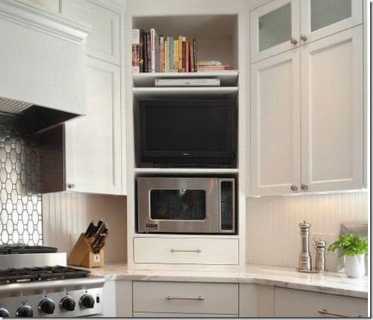Microwave and TV corner cabinet idea