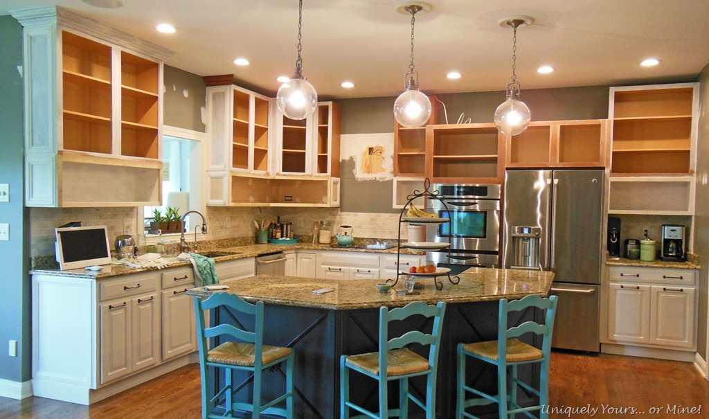 Updating, raising and painting kitchen cabinets | Uniquely ... on kitchens without top cabinets, raising kitchen cabnet, raising kitchen counter, raising kitchen ceiling,
