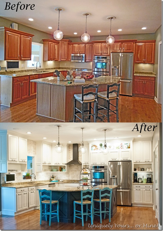 before and after of DIY kitchen remodel, raised kitchen cabinets, open cabinetry, painted cabinets