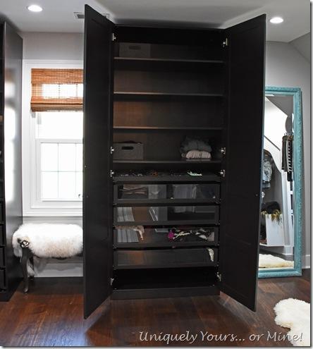IKEA Pax wardrobe in renovated closet turned dressing room