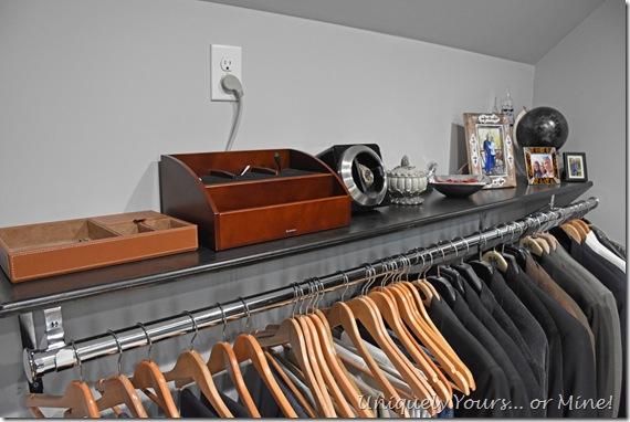 DIY shelf space for renovated closet turned dressing room