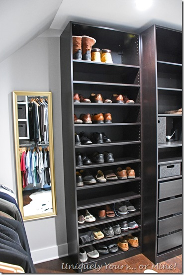 IKEA Pax shoe storage in renovated closet turned dressing room